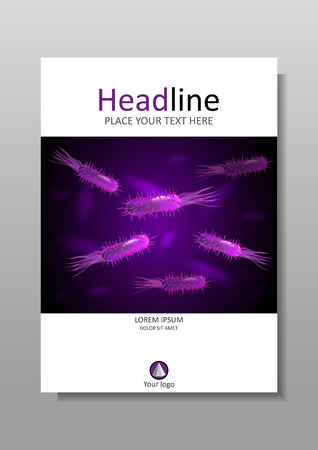 bacteria: Book cover A4 design with bacteria in purple luminescence. Medical, scientific, academic virus, flagellum bacteria, microbe, germ background. Vector.