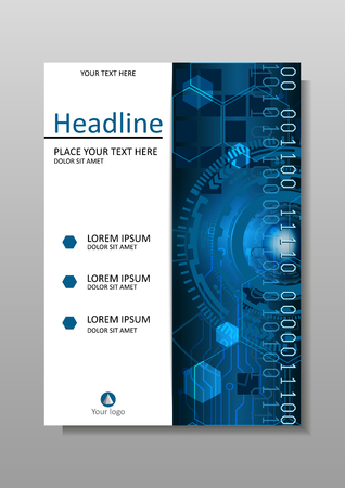 Head-Up Display, HUD. Cover design A4. Journals, portfolio, monographs and magazines. Vector. Futuristic circles with internet and business interface background with numbers. Infographic data. Illustration