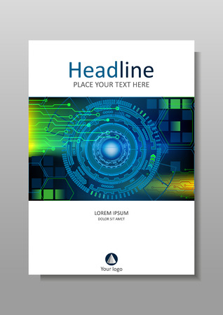 internet background: Cover design in A4 with HUD abstract futuristic technology internet and business interface background with numbers. Infographic data. Head-Up Display. Vector. Colourful. Illustration