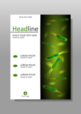 pylori: Cover design template in A4. Helicobacter pylori bacteria green background on a dark background. Vector. Good for banners, covers, books, journals, conference, magazines, flyers. Illustration