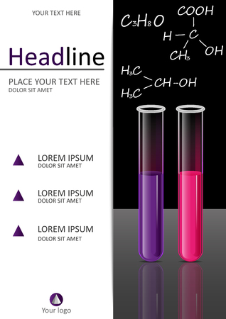 Cover Template Design With Test Tubes Set Liquid In The Laboratory ...