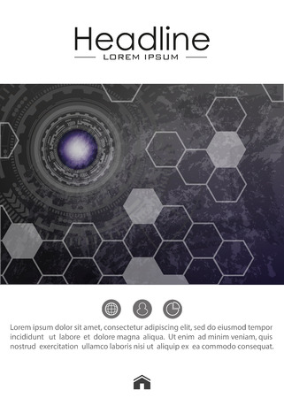 Cover design template with futuristic future sci fi circle with internet technology and business interface background. Metallic background. HUD abstract. Head-Up Display. Vector.