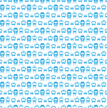Seamless pattern with transport icons:car, tram, trolleybus, train. Vector.