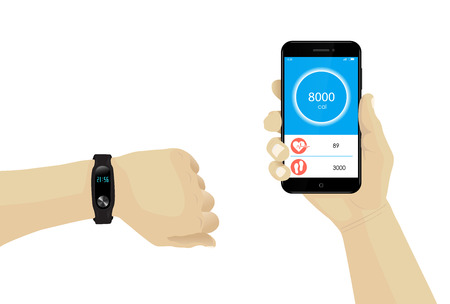 Fitness bracelet on hand with smartphone infographic. Heart rate tracker. Rubber wristband. Watch monitor OLED display. Vector. Fitness Tracking. Mobile tracking. Steps, heartbeat, calories.