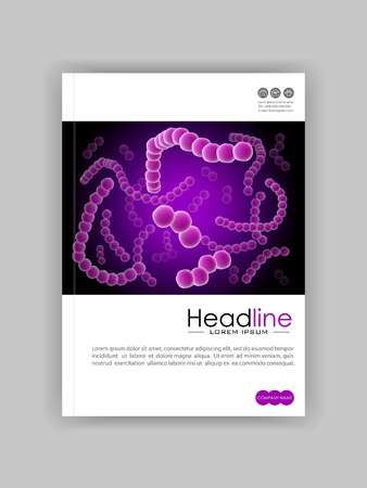 Medical, scientific, academic  journal cover A4 design. Colony of bacterial cells. Velvet  luminescence, Purple Virus, flagellum bacteria, microbe, germ background. Microorganism abstract Vector.