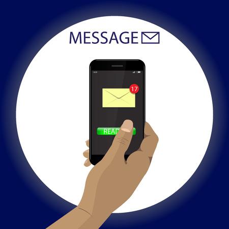 Dark skin Hand with smartphone reading message. Vector.  Illustration