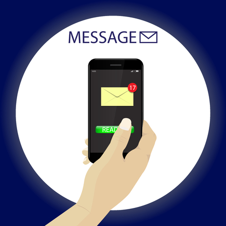 White skin Hand with smartphone reading message. Vector.