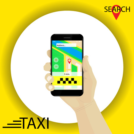 Taxi service. Hand with smartphone gps navigation searching for taxi in application. Red marker. Vector. Yellow background. Illustration