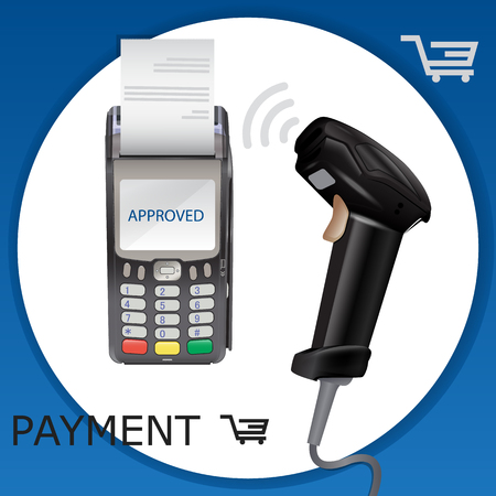 Retail manual handheld laser barcode scanner and pos terminal. Vector Illustration.