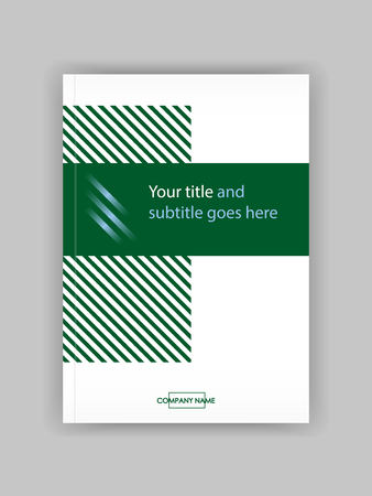 Banner cover template design for web and book printing with lines. Green design vector.