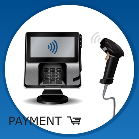 Contactless payment transaction terminal with display and pinpad. Wireless payment. POS terminal, MSR, EMV, NFC, and laser barcode scanner.