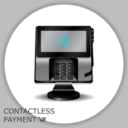 Contactless payment transaction terminal with display and pinpad. Wireless payment. POS terminal, MSR, EMV, NFC. Illustration
