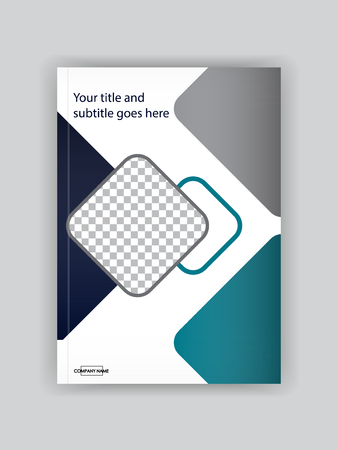 Business Book Cover Design Template. Good for Portfolio, Brochure, Annual Report, Flyer, Magazine, Academic Journal, Website, Poster, Monograph, Corporate Presentation. Place for photo. Vector.