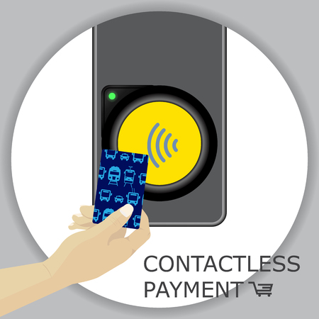Airport, metro, subway ticket terminal for wireless payments. RFID. Hand holding card for transport payment gate. Contactless. Vector. Illustration