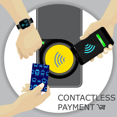 Airport, metro, subway ticket terminal for wireless payments. RFID. Hand holding card, smartphone, smartwatch for transport payment gate. Contactless. Vector.
