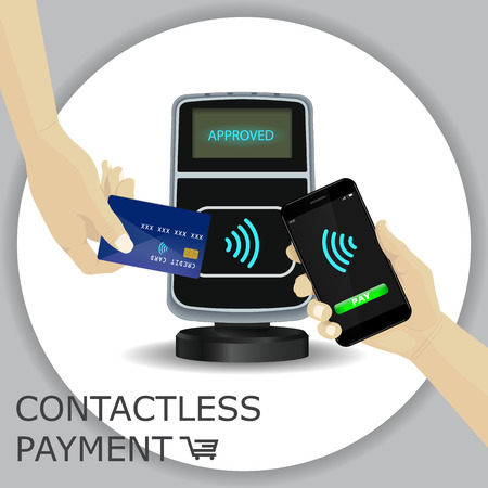 Contactless payments set. Wireless payment POS terminal, smartphone, credit card. Hand holding device. NFC, Credit Card payments. Gray circle background. Vector Icon. Wifi Mobile Pay.