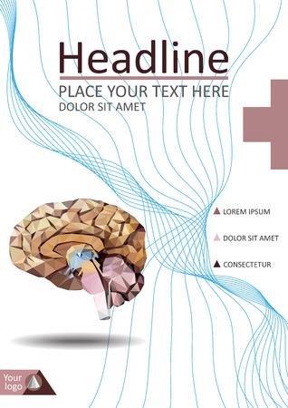 Realistic human brain in low poly. Cover  template of dissected brain. Book, banner. Cerebrum, epithalamus brainstem, cerebellum, cortex, thalamus, hippocampus, hypothalamus, cerebral lobes. Vector