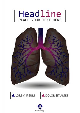 Book cover design low poly realistic human lungs and bronchus with cancer inflammation disease. Smokers lungs banner, brochure, poster vector.