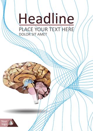 Cerebro humano en diseño de cubierta de baja poli. Bueno para banner médico, informe, revista, conferencia, revista. Vector.
