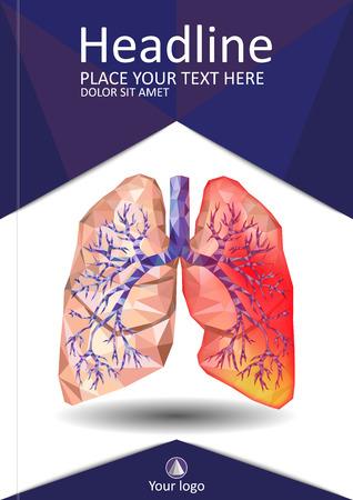 Voorbladsjabloon voor boeken, banner, dagboek. Zieke menselijke realistische longen en luchtpijp in laag poly. Pleuritis, een ontsteking rond de longen. Infectie, tuberculose, kanker, longembolie. Vector.