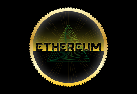 Ethereum ribbed coin text, yellow black background with futuristic chip and lines. Vector.