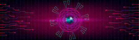 HUD background hi tech hologram. Infographic elements. Atom core, electrons, neutrons. Numbers and futuristic lines. Vector.