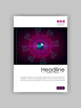 Cover template web banner with HUD atom futuristic metallic core and electrons. Numbers, lines. Good for report, flyer, book, journal, magazine, IT conference. Vector.