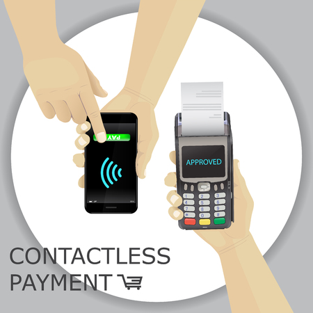Hand holding smartphone. Finger pressing the button pay contact less payment vector.