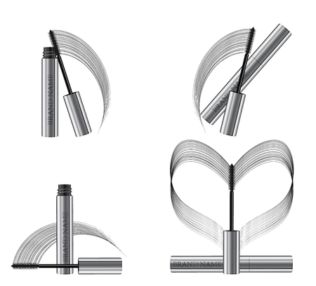 A mascara tube set and a wand applicator. Cosmetic silver bottle with eyelash brush. Isolated on white background. Grunge swatch heart shape, black brush stroke hand drawn. 3d realistic vector. Vectores