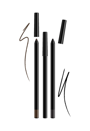 Cosmetic make-up eye liner set pencils vector isolated on white background. Collection of lip-liner pens for contour in glamour luxury vogue style.