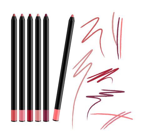 Gesetzter Bleistiftvektor des kosmetischen Make-upLidstrichs lokalisiert auf weißem Hintergrund. Kollektion von Lippenstiften für Konturen im Glamour-Luxus-Modestil. Farbabstrich Proben Bleistiftstrich.
