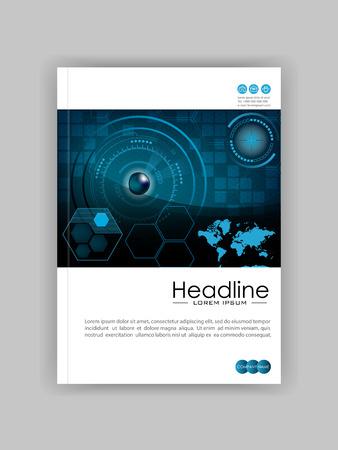 Blue HUD Business Book Cover Design Template. Good for Portfolio, Brochure, Annual Report,  Magazine, Academic Journal, Website, Poster, Monograph. World map. Illustration