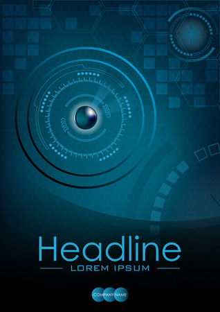 Blue HUD Business Book Cover Design Template. Good for Portfolio, Brochure, Annual Report, Magazine, Academic Journal, Website, Poster, Monograph, Corporate Presentation.