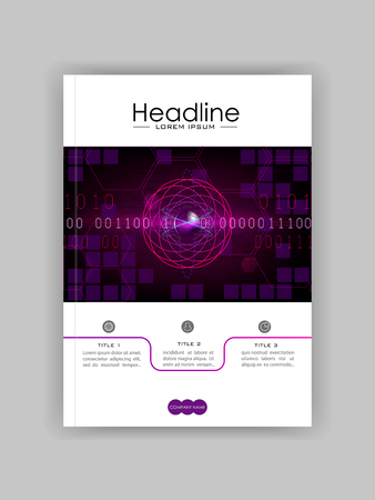 Futuristic sci fi atom with internet technology and business interface background with numbers. Infographic data. HUD. Cover template for journals, conference, banner, book. Vector