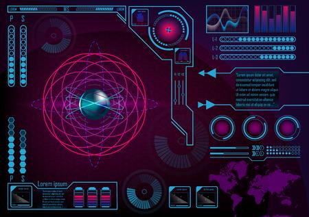 Futuristic radar atom user interface. HUD. Infographics futuristic blue background. GUI hologram set with world map. Digital business data for web app. Lungs, heart, batteries. Vector EPS 10.