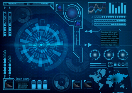 Futuristic radar screen user interface. HUD. Infographics futuristic blue background. GUI hologram set with world map. Digital business data for web app. Head-up display elements. Vector EPS 10.