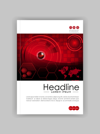 Red A4 HUD business book cover design template. Good for portfolio, brochure, annual report, flyer, magazine, academic journal, website, poster, monograph. world map. Vector illustration.