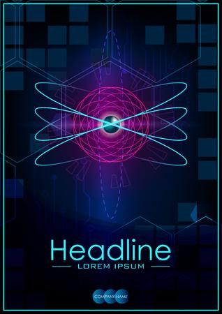 Blue A4 HUD business book cover design template. Good for portfolio, brochure, annual report, flyer, magazine, academic journal, website, poster, monograph. atom. Vector illustration.