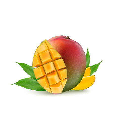 Realistic yellow, red, orange ripe mango cubes and leaves isolated on white background for packaging, web design. Ilustração