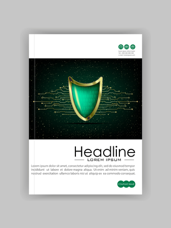 Business Technology Book Cover Design Template. Illustration
