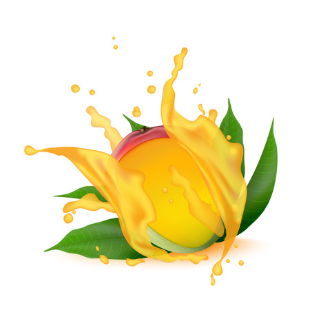 Juice splash of mango, orange, peach with leaves isolated on white background.