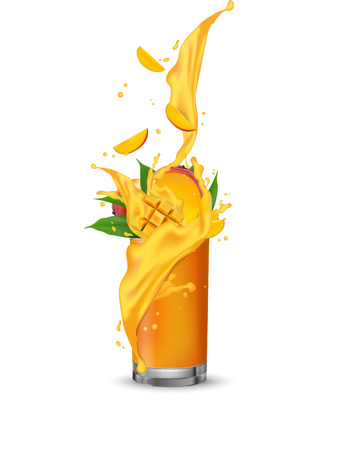 Orange mango multi yellow fruit cocktail. Mango slices falling into the glass cup isolated on white. Vector. 일러스트