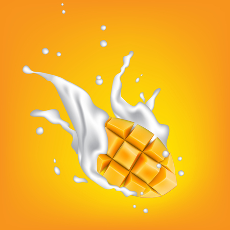 Milk splashing crown on yellow background with juicy yellow fruit cubes. Yogurt splash with yellow fruit cut. Vector illustration.