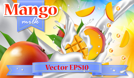 Vector ads 3d promotion banner, Realistic  fruit splashing with falling slices, milk drops, vitamins, leaves. Mock up for yogurt, ice cream, milk dairy brand advertising. Label poster template. Illustration