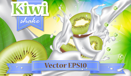 A Vector ads 3d promotion banner, Realistic kiwi fruit splashing with falling slices, milk drops, vitamins, leaves.