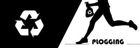 A human silhouette running and holding a litter trash bag with recycle symbol.