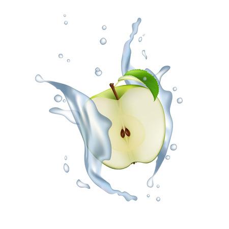 Apple Fruit Milk Water Juice Yogurt Splash Illustration Isolated On White. Realistic Packaging Design Template Element. 3d Half Sliced Falling Vector. Illustration