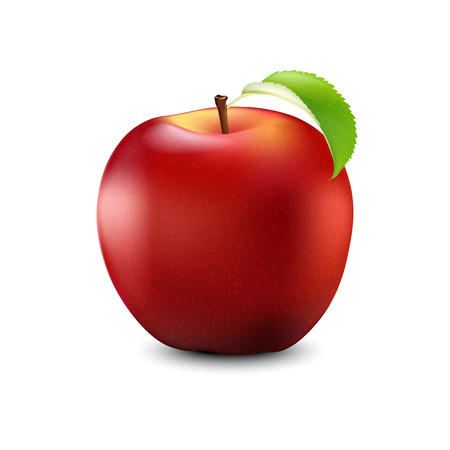 Red Apple Realistic With Leaf in Detailed 3d Illustration Isolated On White background.