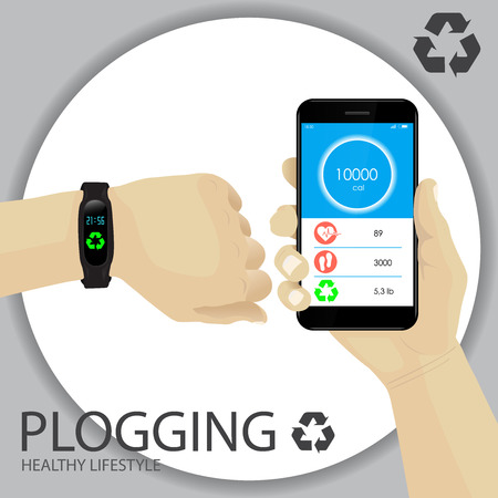 Plogging Concept. Healthy Lifestyle. A Human Hand With Wristband, Tracker, Smartwatch. Smartphone With Infographics on Pulse, Calories, Steps, Trash Weight. Recycle Symbol. Plocka Up. Vector.