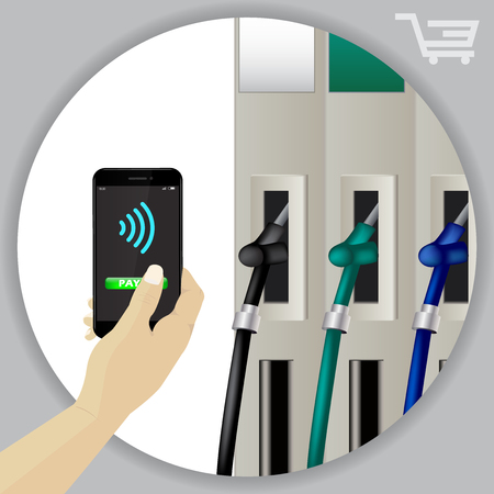 Fuel Dispenser And Fuel Nozzles At A Filling Station To Pump Petrol, Gas, Diesel. Contactless Wireless Phone Payment. Smartphone Pay For Fuel Concept. Petrol Pumps. Vector